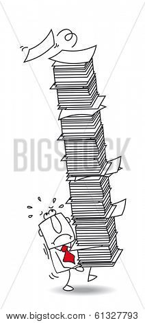 The businessman carries a large stack of paper. He has a lot of work.