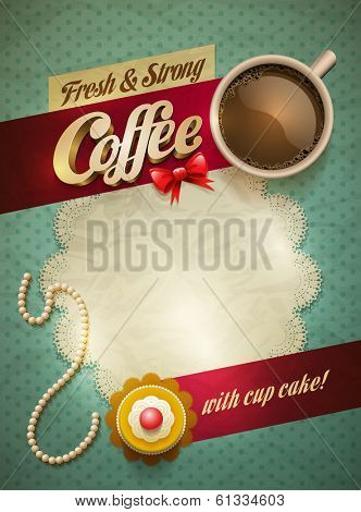 Vector cup of coffee and cakes on lace paper background with copy space for your text. View from above.
