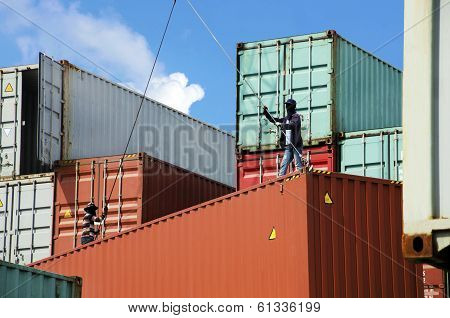Container freight against the backdrop of the sky. poster
