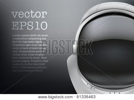 Astronaut helmet with big glass and reflection vector. poster