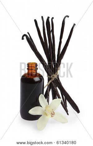 Vanilla pods, bottle of extract and orchid