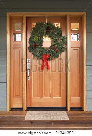 front door with christmas wreath
