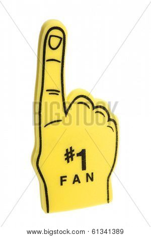 yellow foam finger with #1