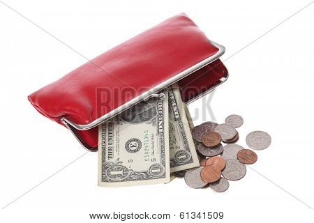 Red purse and money