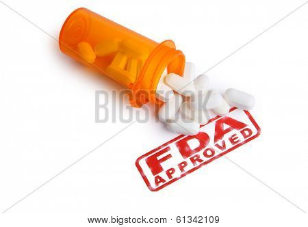 Bottle of Pills and a FDA APPROVED stamp