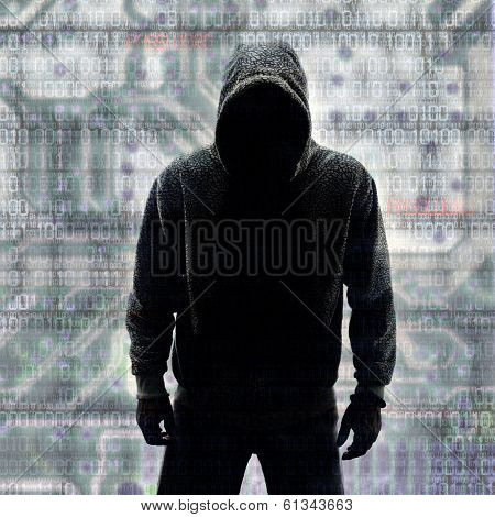 Hacker In Silhouette And Binary Codes