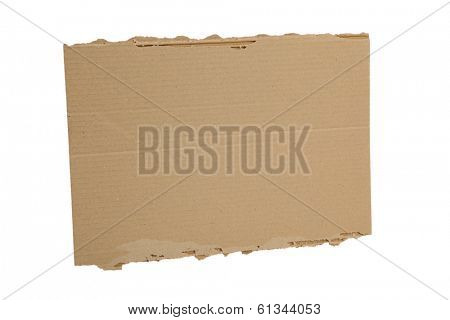 Blank cardboard sign on white background