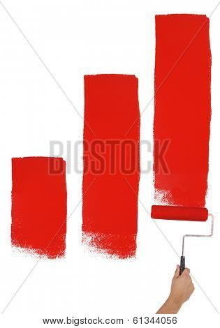 Painting lines of red paint on wall cut out, isolated on white background