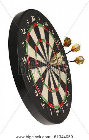 dartboard with three darts on bullseye
