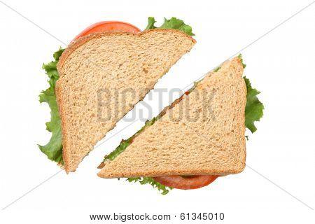 Sandwich cut in half, cutout on white background