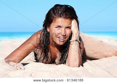 Photograph of a beautiful woman on the beach