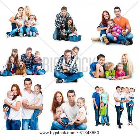 set photos of a happy smiling families with their dogs  isolated on white background