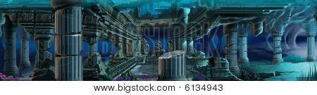 Atlantis ruins. Underwater background.