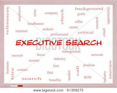 Executive Search Word Cloud Concept On A Whiteboard
