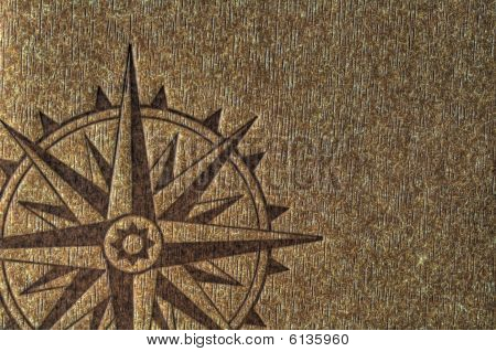 Compass Rose On Wood Texture