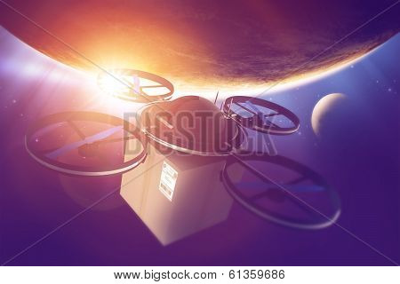 Drone Era. Quadcopter Drone with Package in the Space. Destination Earth. Remote Aircrafts Technology. poster