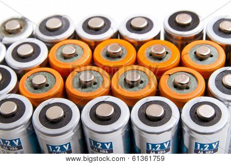Several Aa Batteries In Perspective Closeup View