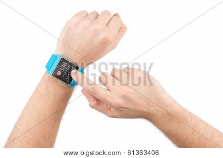 Smart Watch With Fitness App On The Screen On Male Hands
