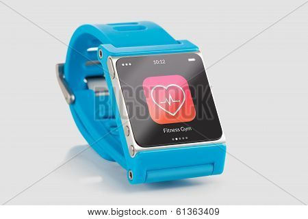 Blue Smart Watch With Fitness App Icon On The Screen