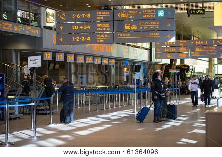 KRAKOW, POLAND - MAR 11, 2014: Terminal hall of John Paul II International Airport Krakow-Balice - celebrated its 50th anniversary. This is second airport in Poland after Warsaw airport.
