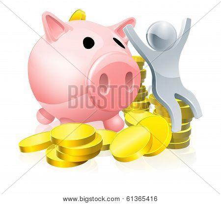 Happy Piggy Bank Man