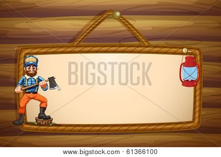 Illustration of a woodman holding a sharp axe in front of the empty signboard