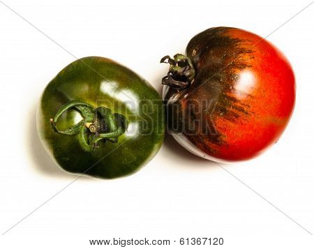 two organic tomatos