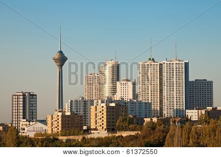 Tehran Skyline And Skyscrapers In The Morning Light
