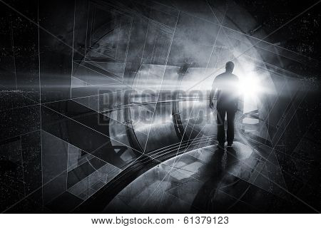 Man goes through the dark tunnel. Abstract background illustration poster