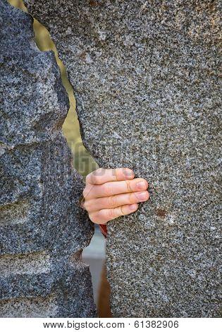 Gap between stone walls