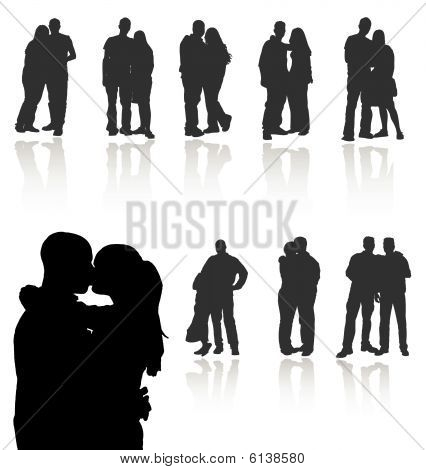 Set of couples vector silhouettes with reflections. More vector in my gallery.
