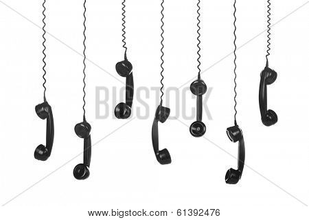 Old Vintage Black Telephone Handsets isolated on white background
