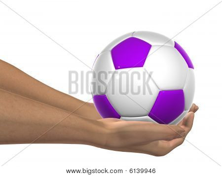 violet and white 3D soccer ball held in hands