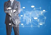 Businessman and network of contacts. The concept of global contacts poster