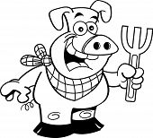 Black and white illustration of a pig holding a fork. poster