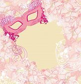 Carnival Mask - abstract floral card , vector illustration poster