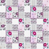 Patchwork seamless floral dotted pattern texture background poster