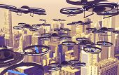 Drones Invasion. A Lot of Drones Above American City. 3D Render Illustration. Technology Abstract. poster
