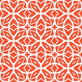 Vector geometric art deco pattern with lacing shapes in coral red and white. Luxury texture for print, website background, decor in 1930 style, wrapping paper, spring summer fashion. textile, fabric poster