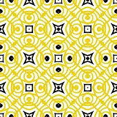 Vector geometric art deco pattern in yellow and black. Luxury texture for print, website background, holiday decor in 1930 style, Christmas wrapping paper, fall winter fashion. textile, fabric poster