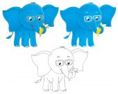 High resolution clip-arts (black-and-white and color drawings) with small blue elephant wearing eye-glasses poster