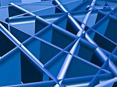 An abstract of a random achitectural structure in blue. poster
