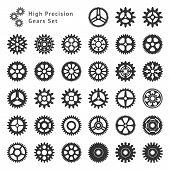 Set of 33 gears made with high precision. Realistic toothed size and format. poster