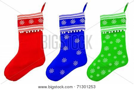 Christmas Stockings With White Snowflakes