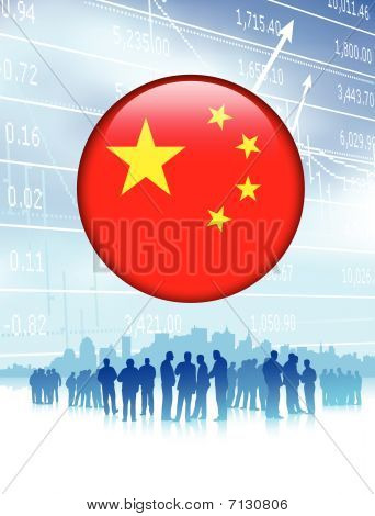 Business Team With China Flag Internet Button