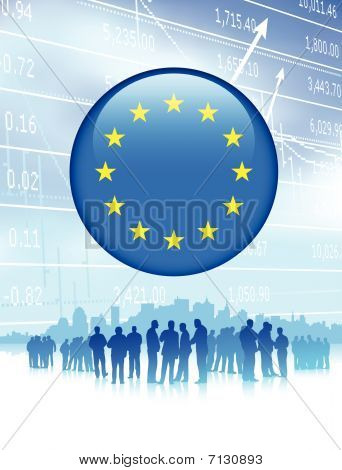 Business Team With European Union Flag Internet Button