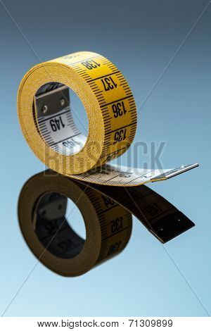 yellow tape, symbol photo for diet control and precision