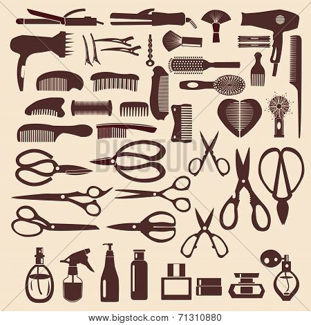 haircutting tool icons set of silhouette Barbershop objects poster