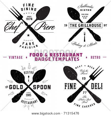 Vector Restaurant and Food Badge Template Set. Easy to edit. All pieces are separated.