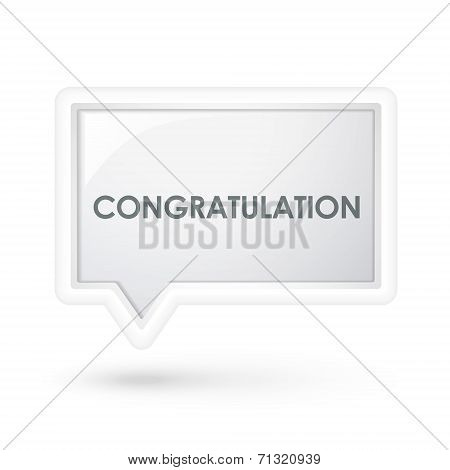 Congratulation Word On A Speech Bubble